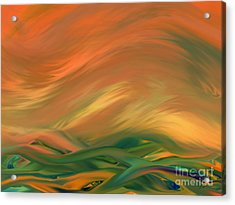 Sunset Over The Sea Of Worries Acrylic Print