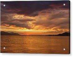 Sunset Over The Sea, Opuzen, Croatia Acrylic Print