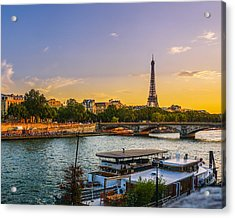 Sunset Over The Seine In Paris Acrylic Print
