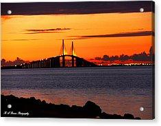 Sunset Over The Skyway Bridge Acrylic Print