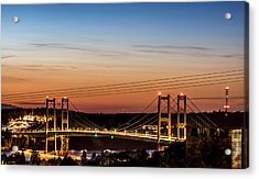 Sunset Over The Tacoma Narrows Bridges Acrylic Print