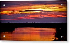 Sunset Over The Tomoka Acrylic Print by DigiArt Diaries by Vicky B Fuller
