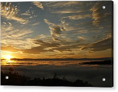 Sunset Over The Valley Fog Acrylic Print