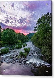 Sunset Over The Vistula In The Silesian Beskids Acrylic Print