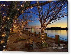 Sunset Over The Wilmington Waterfront In North Carolina, Usa Acrylic Print