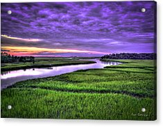 Sunset Over Turners Creek Savannah Tybee Island Ga Acrylic Print by Reid Callaway