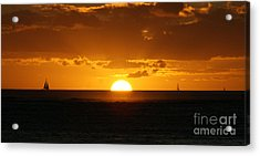 Sunset Over Waikiki Acrylic Print by Angela DiPietro