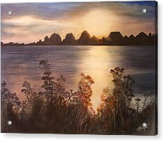 Sunset Over Westham Island Acrylic Print by Victoria Heryet