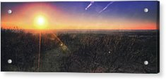 Acrylic Print featuring the photograph Sunset Over Wisconsin Treetops At Lapham Peak  by Jennifer Rondinelli Reilly - Fine Art Photography