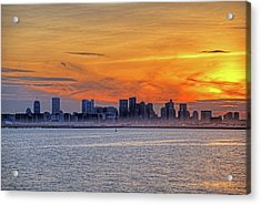 Sunset Ovet The Boston Skyline Boston Ma Acrylic Print by Toby McGuire