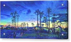 Sunset Palms Santa Monica Acrylic Print by Bonnie Lambert