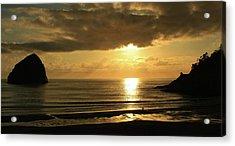 Sunset Panorama Haystack Rock Acrylic Print