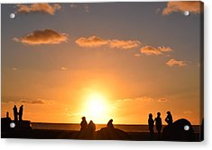 Sunset People In Imperial Beach Acrylic Print by Karen J Shine