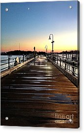 Sunset Pier Acrylic Print by Extrospection Art