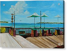 Sunset Pier Tiki Bar - Key West Florida Acrylic Print by Lloyd Dobson