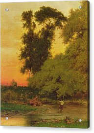 Sunset, Pompton, New Jersey Acrylic Print by George Inness Snr