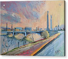 Sunset Pont Fragnee Acrylic Print by Nop Briex