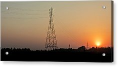 Acrylic Print featuring the photograph Sunset Pylons by Chris Cousins