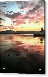 Sunset Reflected On Water Acrylic Print by Tracey Harrington-Simpson
