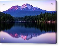 Sunset Reflection On Lake Siskiyou Of Mount Shasta Acrylic Print
