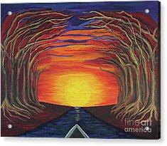Treetop Sunset River Sail Acrylic Print