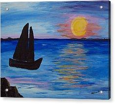 Sunset Sail Dark Acrylic Print by Barbara McDevitt