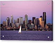 Sunset Sail In Puget Sound Acrylic Print by Adam Romanowicz