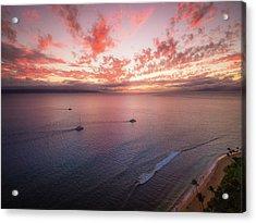 Sunset Sail Kaanapali Maui Acrylic Print by Seascaping Photography
