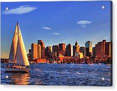 Sunset Sail On Boston Harbor Acrylic Print