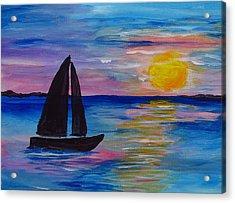 Sunset Sail Small Acrylic Print by Barbara McDevitt