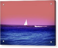 Sunset Sailboat Acrylic Print by Bill Cannon