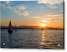 Sunset Sailboats Acrylic Print by Tom Dowd
