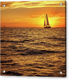 Sunset Sailing Acrylic Print by Steve Spiliotopoulos