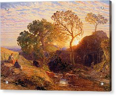 Sunset Acrylic Print by Samuel Palmer