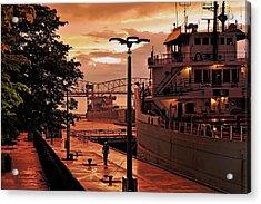 Sunset Sault Locks Acrylic Print