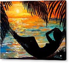 Sunset Silhouette Acrylic Print by Alan Lakin
