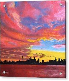Sunset Silhouette...a Rainbow Of Colors Acrylic Print by Harvey Rogosin