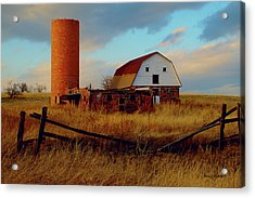Acrylic Print featuring the photograph Sunset Silo Barn by Stephen  Johnson