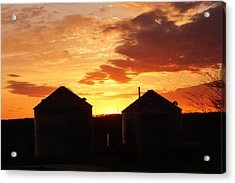 Acrylic Print featuring the digital art Sunset Silos by Jana Russon