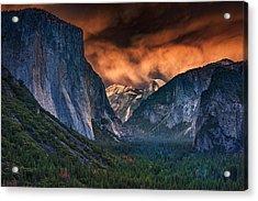 Sunset Skies Over Yosemite Valley Acrylic Print