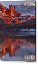 Sunset Snow Caps And Towers Acrylic Print