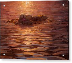 Sea Otters Floating With Kelp At Sunset - Coastal Decor - Ocean Theme - Beach Art Acrylic Print