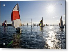 Sunset Spinaker Acrylic Print by Tom Dowd