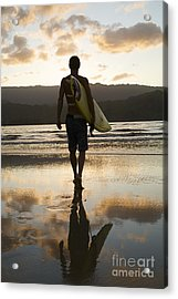 Sunset Surfer Acrylic Print by Kicka Witte - Printscapes