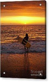 Sunset Surfer On Aberystwyth Beach Wales Uk Acrylic Print