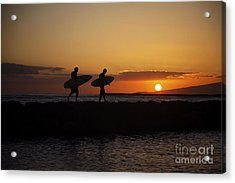 Sunset Surfers Acrylic Print by Brandon Tabiolo - Printscapes