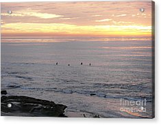 Acrylic Print featuring the photograph Sunset Surfing by Carol  Bradley