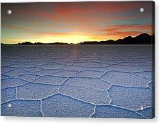 Lake Uyuni Sunset Texture Acrylic Print