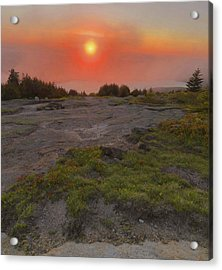 Acrylic Print featuring the photograph Sunset Through Fog by Stephen  Vecchiotti