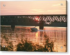 Sunset Under The Cbq Railroad Bridge Acrylic Print by C E McConnell